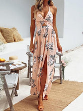 Laden Sie das Bild in den Galerie-Viewer, Pink Plunge Halter Floral Print Thigh Split  Chic Women Maxi Dress