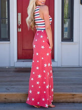 Load image into Gallery viewer, Red Star Print Stripe Panel Sleeveless Chic Women Maxi Dress