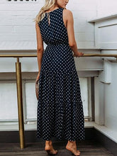 Laden Sie das Bild in den Galerie-Viewer, Dark Blue Cotton Polka Dot Print Sleeveless Chic Women Maxi Dress
