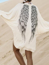 Laden Sie das Bild in den Galerie-Viewer, White Cotton Blend Eagle Print Batwing Sleeve Chic Women Cardigan