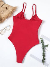 Laden Sie das Bild in den Galerie-Viewer, Red One-Piece Swimsuit V-neck Cut Out