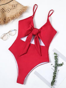 Red One-Piece Swimsuit V-neck Cut Out