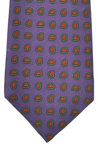 Luigi Monaco Elevenfold Tie Purple Lime Red Paisley FINAL SALE
