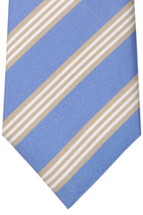 Luigi Monaco Extra Long 11 Fold Tie Classic Sky Blue Cream Stripes