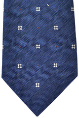 Luigi Monaco Extra Long 11 Fold Tie Navy Silver Geometric - Hand Made In Italy
