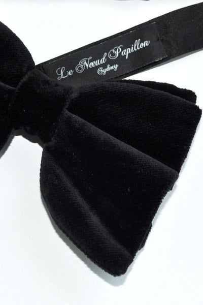 Le Noeud Papillon Solid Black Velvet Black Bow Tie Large Butterfly
