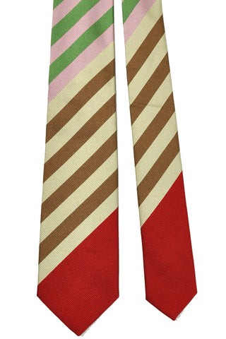 Gene Meyer Tie Red Pink Cream Brown Stripes