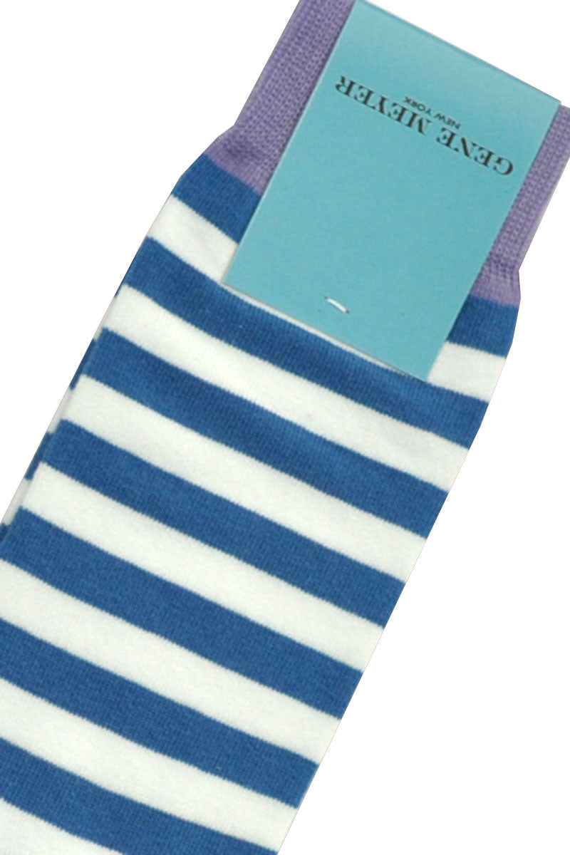 Gene Meyer Socks White Blue Lilac Stripes SALE