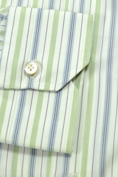 Isaia Button-Down Shirt White Green Navy Stripes 43 - 17 FINAL SALE