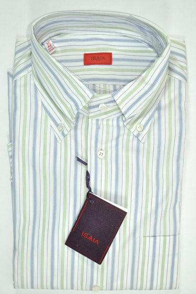Isaia Button-Down Shirt White Green Navy Stripe