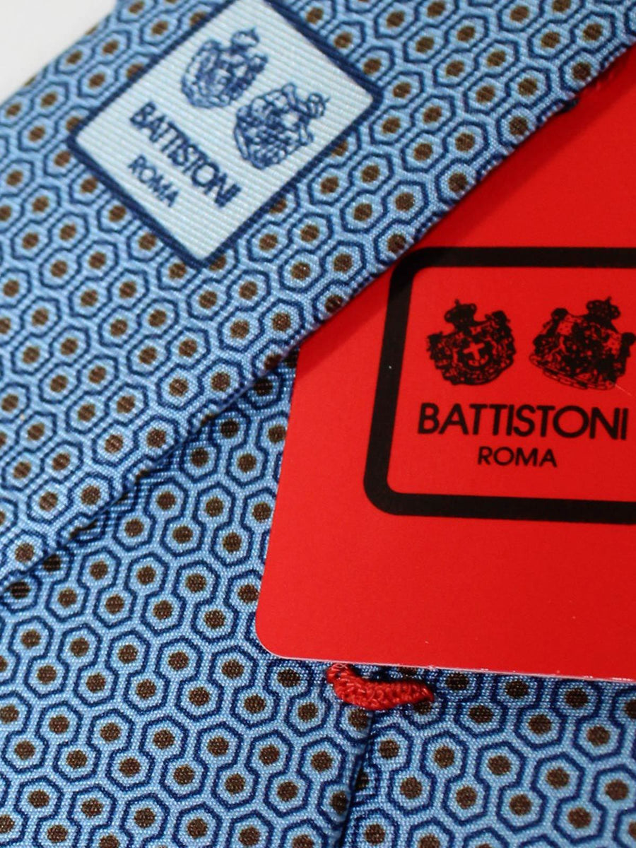 Battistoni Tie Blue Brown Geometric Design - Spring Summer 2020