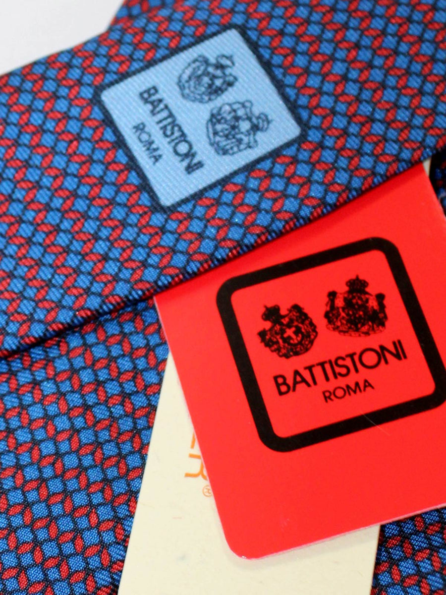 Battistoni Tie Navy Red Geometric Design - Spring Summer 2020