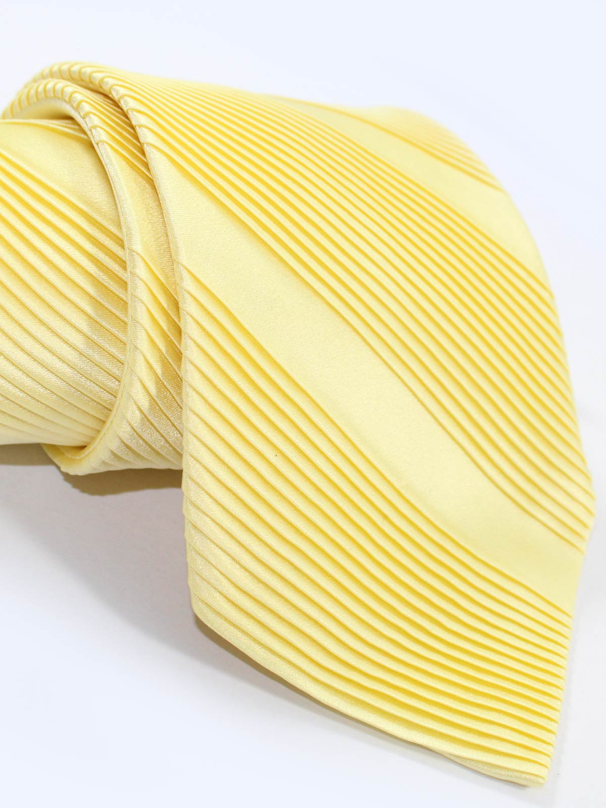 Stefano Ricci Pleated Silk Tie Light Yellow Solid - Wide Necktie