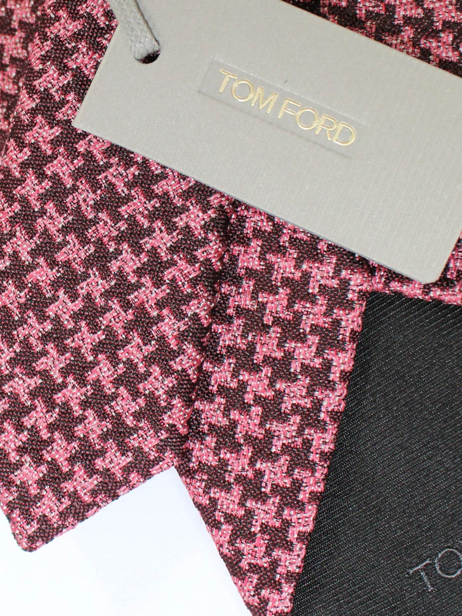 Tom Ford Linen Silk Tie Pink Geometric