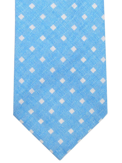 Luigi Borrelli Linen Tie White Aqua Check Unlined Narrow Necktie SALE