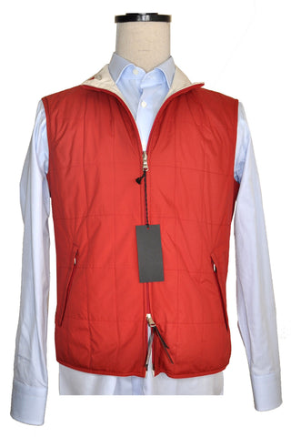 Cesare Attolini Vest Bodywarmer Reversible Cream Brick Red