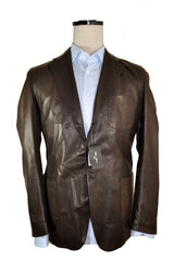 Cesare Attolini Brown Leather Jacket