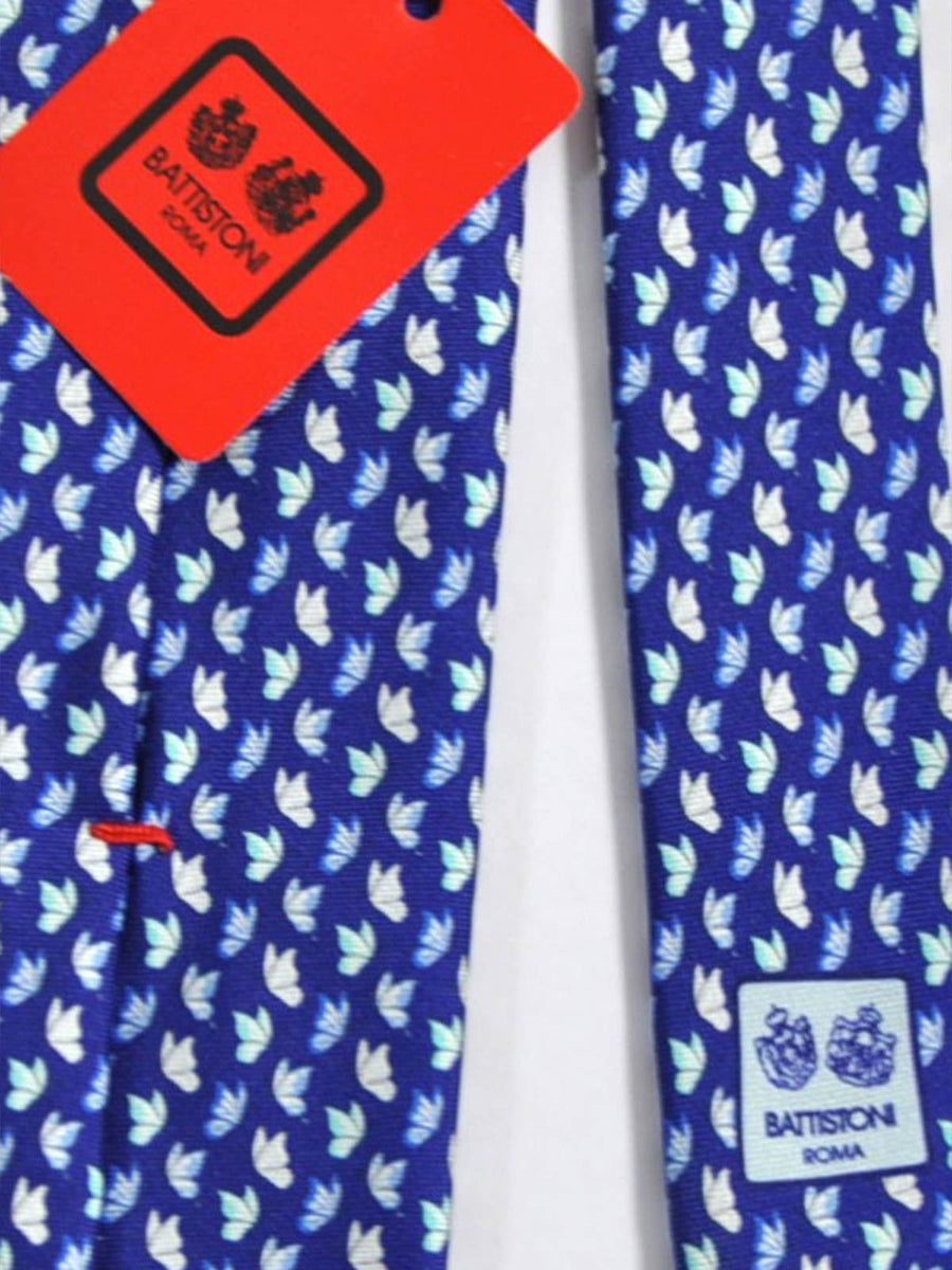 Battistoni Tie Royal Blue White Sky Blue Leaf Print SALE