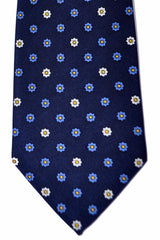 Battistoni Tie Navy Geometric Flowers