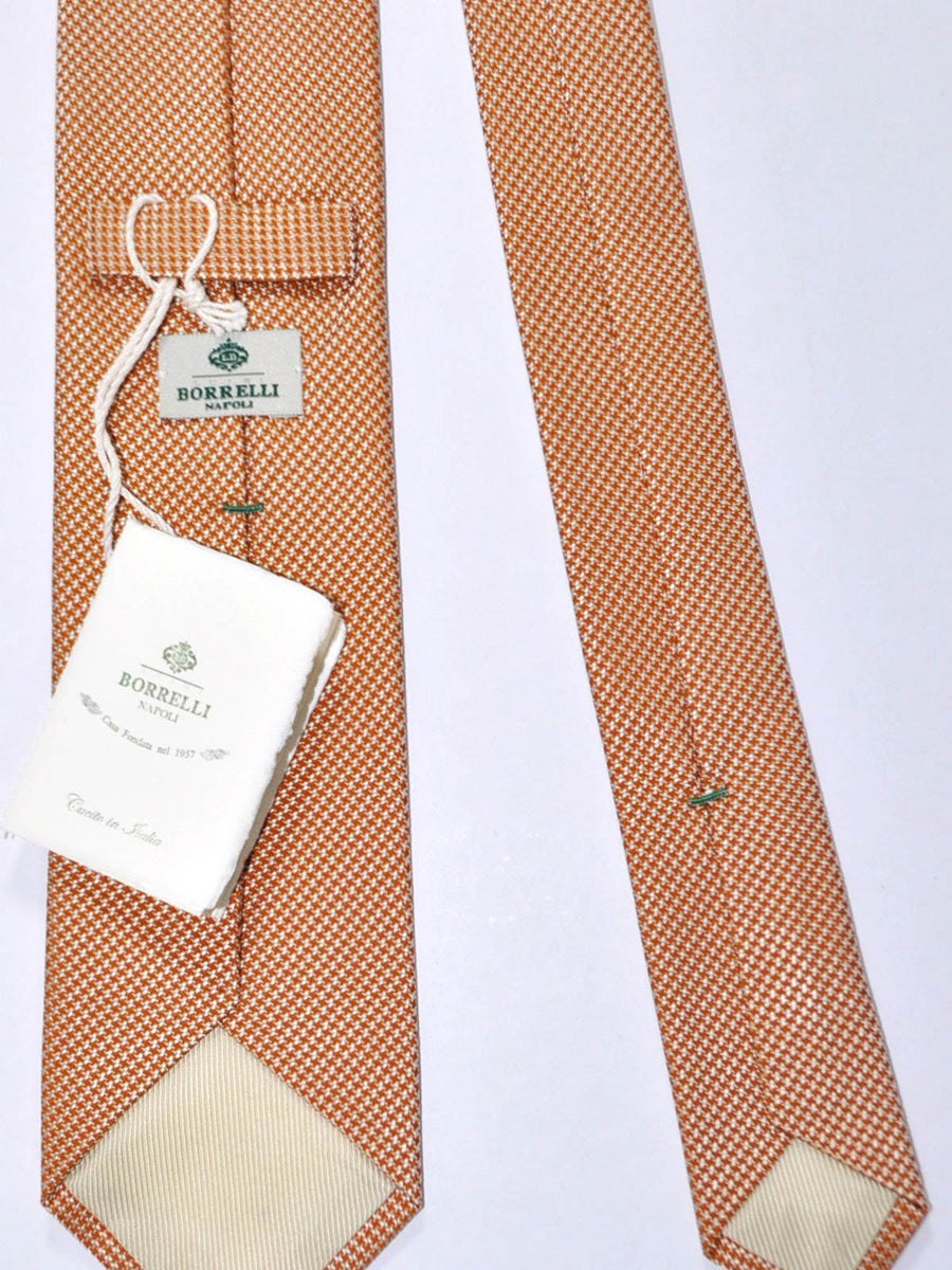 Luigi Borrelli Tie Silver Brown Mini Houndstooth FINAL SALE