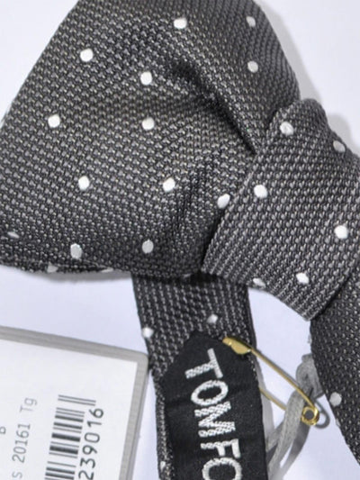 Tom Ford Silk Bow Tie Charcoal Gray Silver Dots SALE