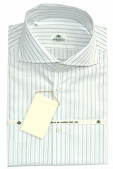 Luigi Borrelli Shirt White Taupe Stripes Men 40 - 15 3/4 - SALE