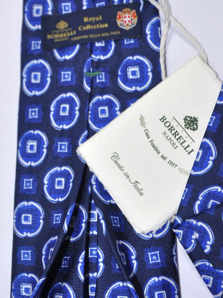 Luigi Borrelli Sevenfold Tie ROYAL COLLECTION Navy Royal Blue Medallion SALE