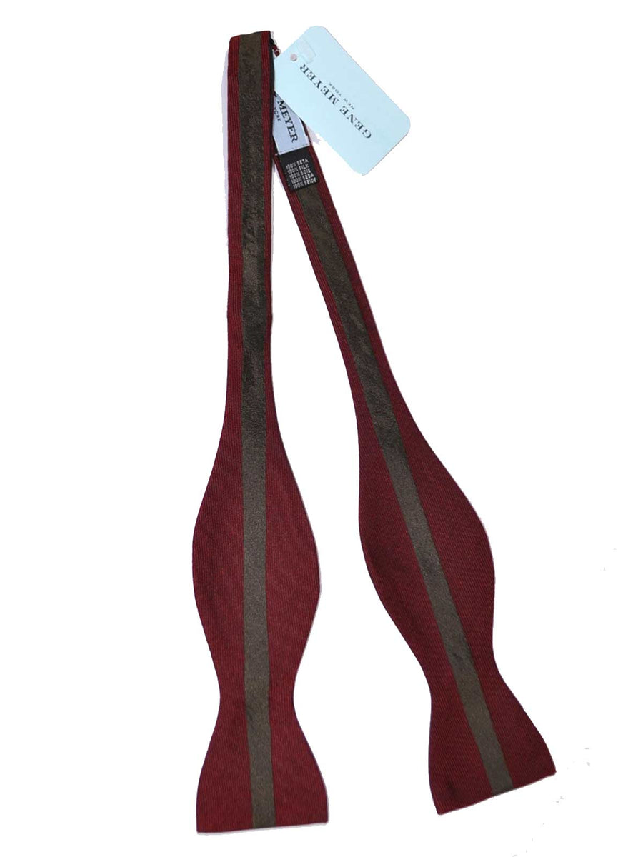 Gene Meyer Silk Bow Tie Burgundy Taupe-Brown Stripe