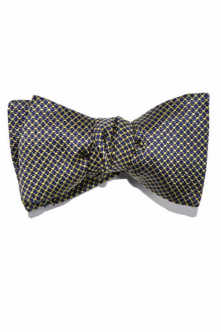 Le Noeud Papillon Silk Bow Tie Navy Olive-Gold Dots SALE