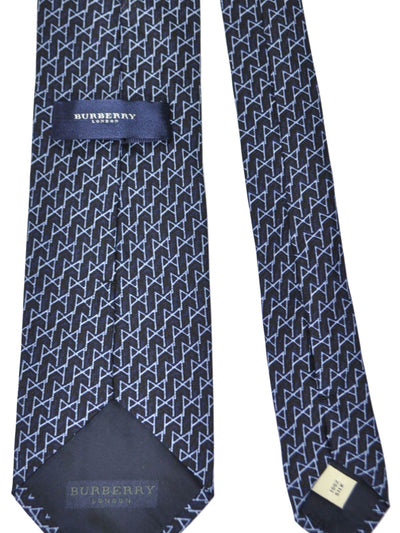 Burberry Tie Black Sky Blue Geometric - Wide Necktie SALE