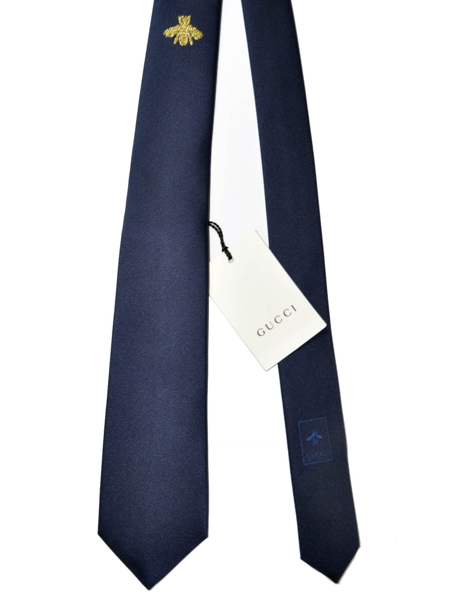 "Gucci Tie Dark Blue Bee ""Buzz"" Design"