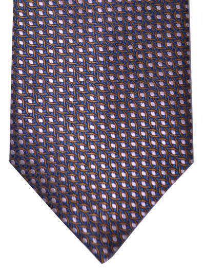 Canali Tie Midnight Blue Pink Brown Geometric SALE