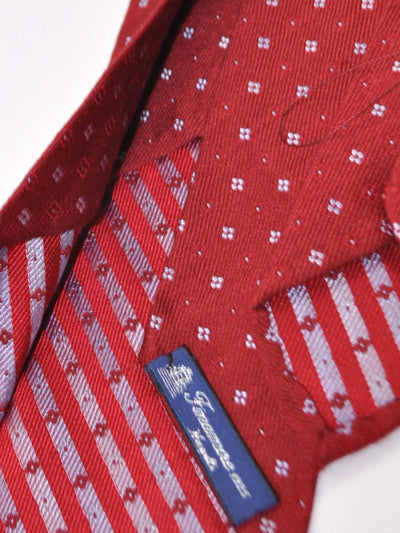 Finamore Sevenfold Tie Red Geometric Wool Silk Unlined Necktie