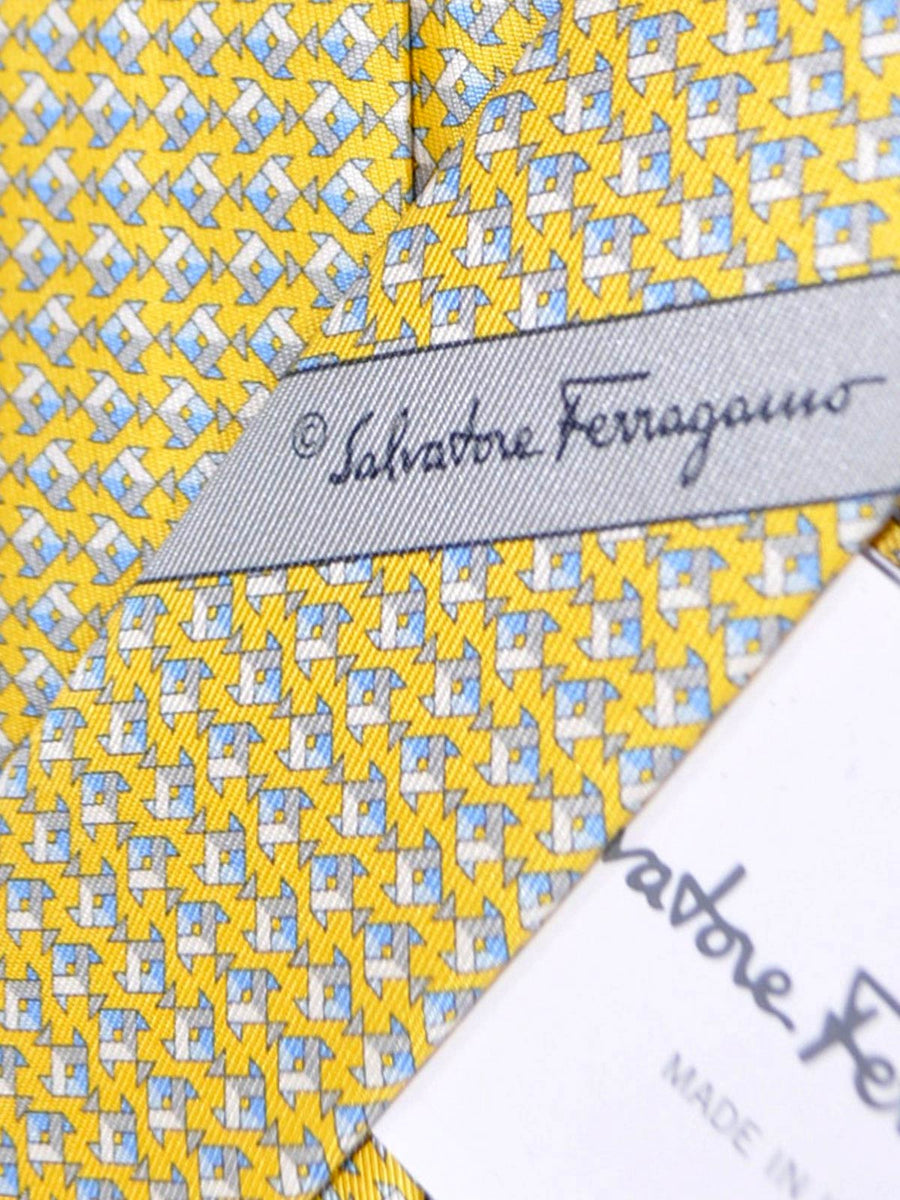 Salvatore Ferragamo Tie Yellow Fish Novelty Print - SALE