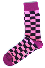 Colorful Men Socks Purple/ Pink Rectangles