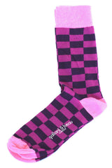 Colorful Men Socks Purple Rectangles