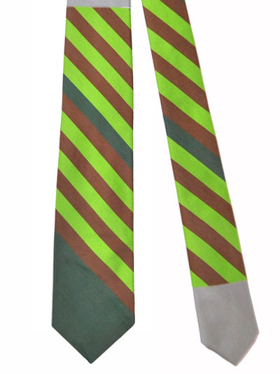Gene Meyer Tie Lime Brown Gray Stripes SALE