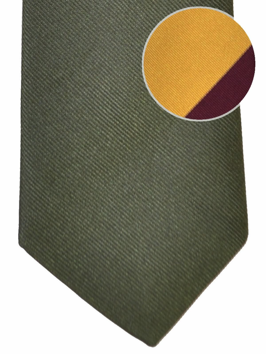 Gene Meyer Tie Olive Burgundy Yellow Design