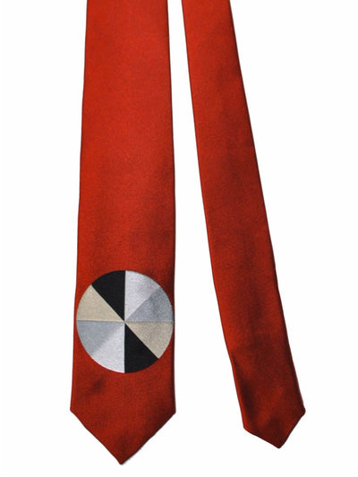 Gene Meyer Tie Red Orange Gray Silver Pie FINAL SALE