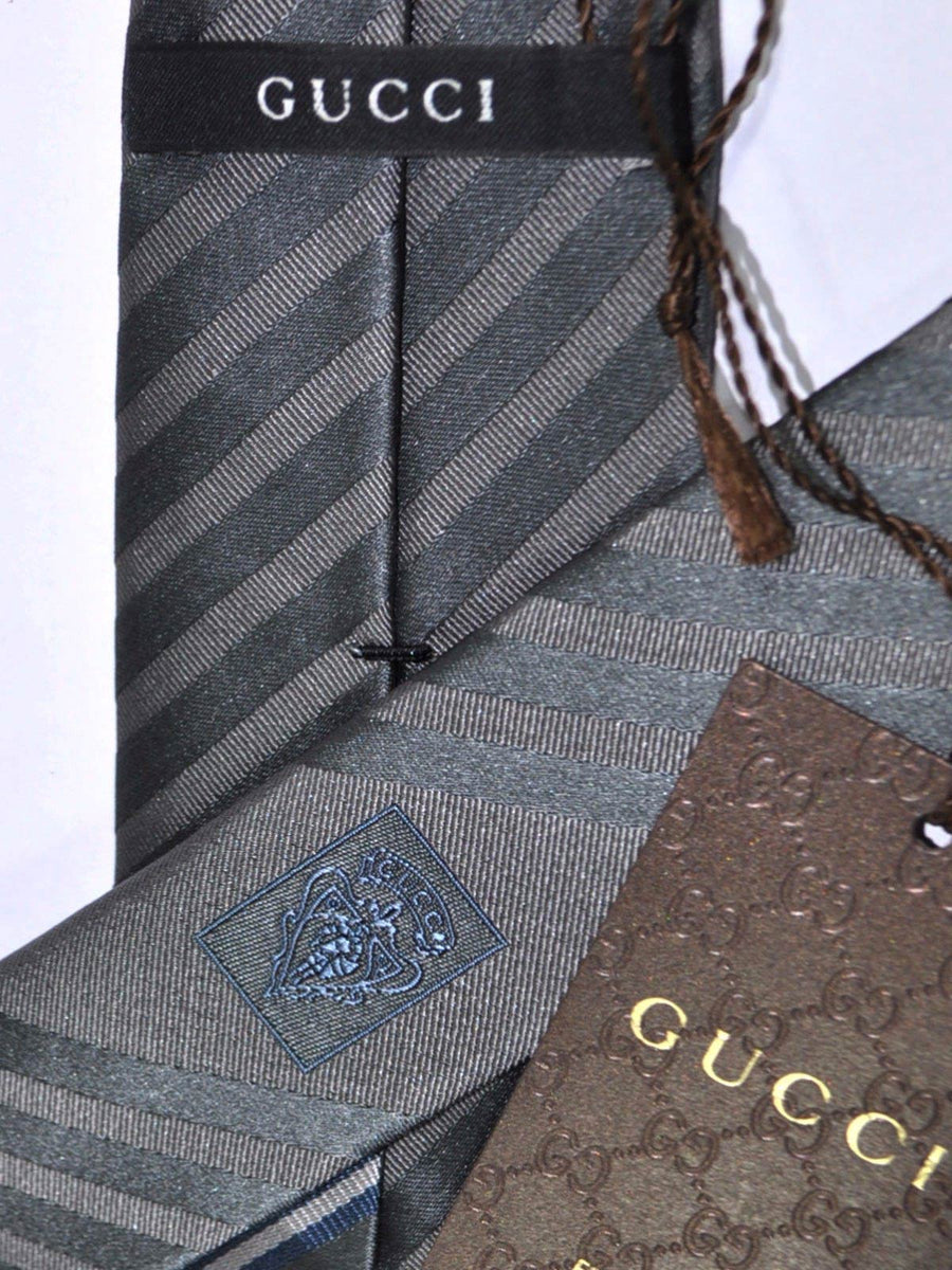 Gucci Tie Gray Silver Blue Signature Stripes SALE