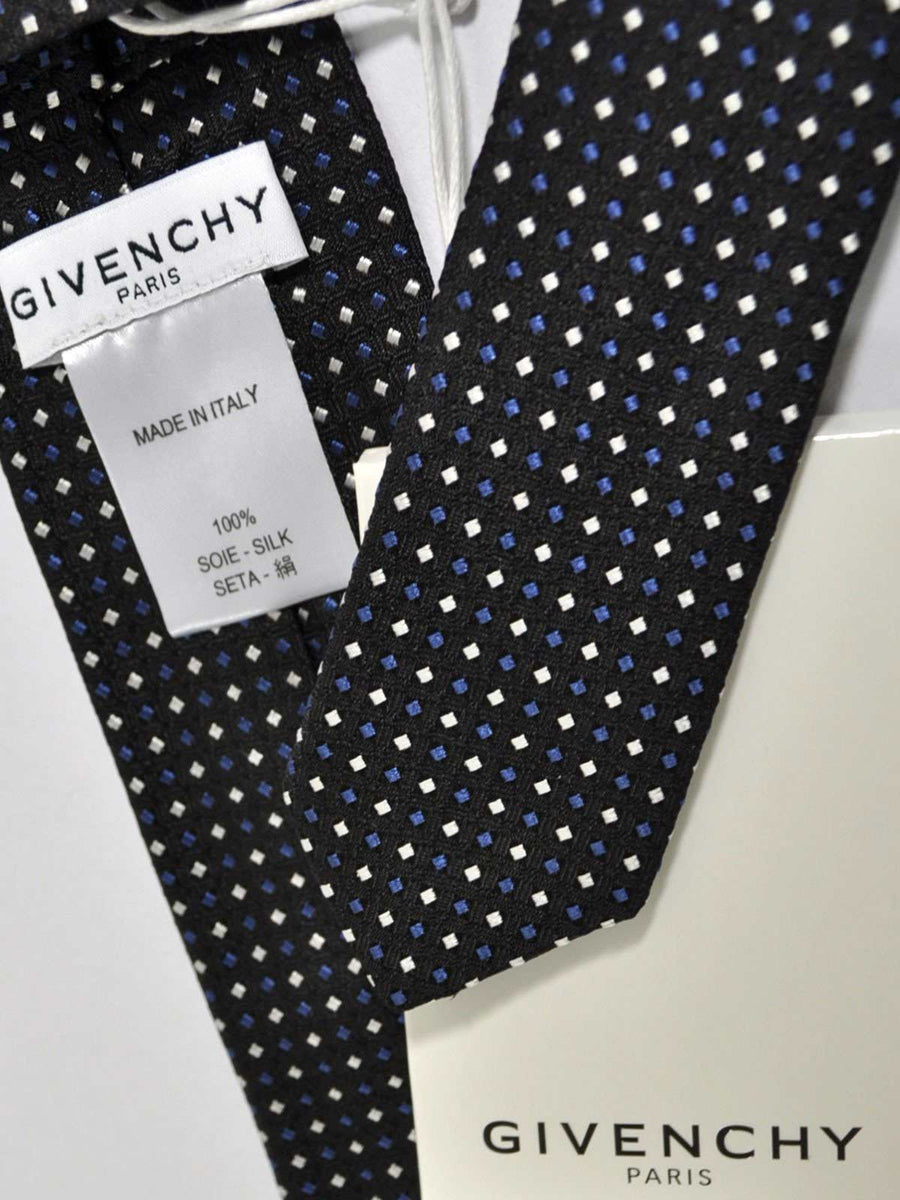 Givenchy Tie Black Dark Blue Silver Mini Dots Narrow Cut SALE