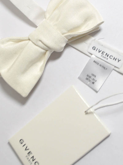 Givenchy Bow Tie Ivory White Silk Pre-Tied Bow Tie