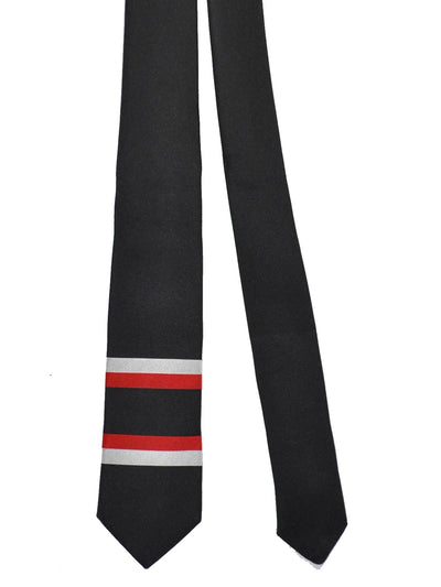 Givenchy Tie Black Red Silver Horizontal Stripes - Narrow Cut SALE