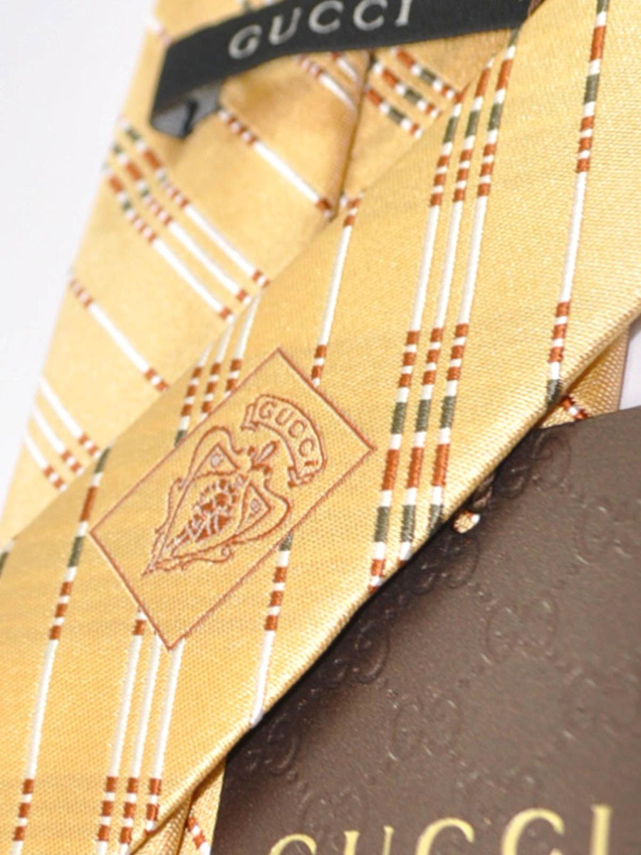 Gucci Tie Cream Black Copper Silver Stripes SALE