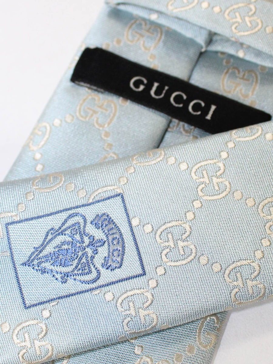 Gucci Silk Tie Sky Blue Silver GG Pattern Narrow Necktie