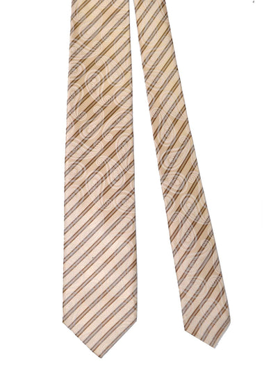 Isaia Sevenfold Tie Cream Taupe Stripes Paisley