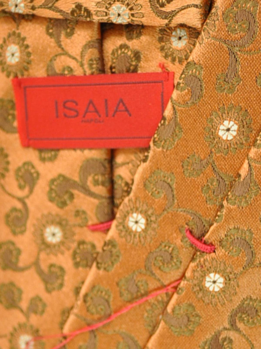 Isaia Silk Tie Peach Brown Floral FINAL SALE