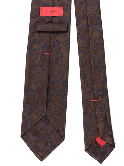 Isaia Tie Brown Lapis Blue Paisley SALE