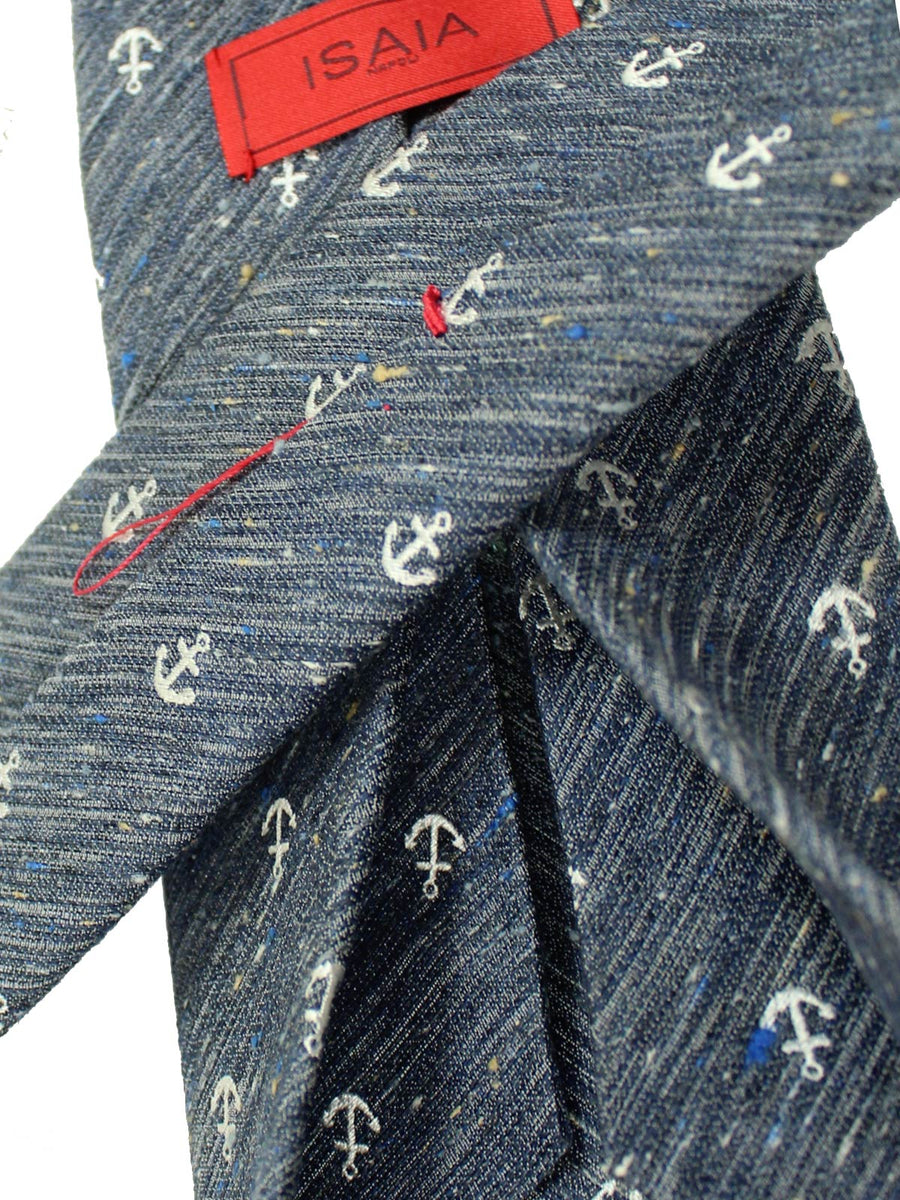 Isaia Sevenfold Tie Navy Anchor Design