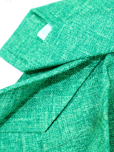 Isaia Sevenfold Tie Solid Green Design Cotton SALE
